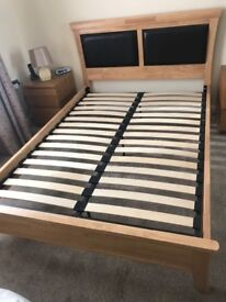 Double Bed Wooden Frame with Silentnight Mattress - Excellent Condition