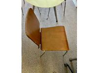IKEA modern, bent dark wood, stackable dining / meeting room chairs x4.
