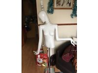 Female Mannequin for sale, with lightbulb fitting through the head with a switch