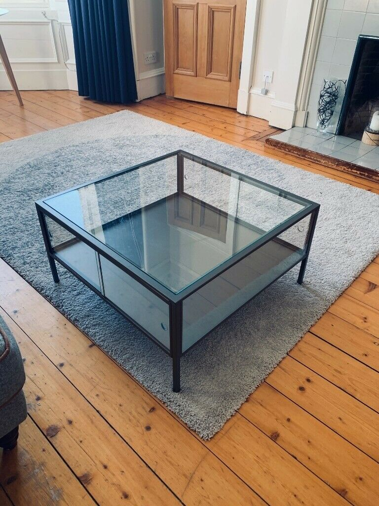 Ikea Sammanhang Glass Steel Grey Square Coffee Table In