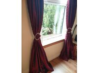 Set of Red Curtains, poles, fittings and rails - all in good condition - £50 for all