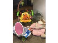Jumperoo, baby bath, angelcare, mothercare playmath, baby bundle