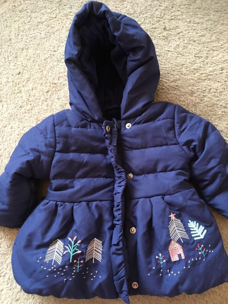 bea195c21 M S BABY GIRL S NAVY BLUE COAT EMBROIDERED PADDED ...