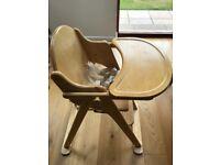 John Lewis wooden folding high chair