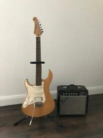 Yamaha Pacifica left hand guitar and Fender Amp
