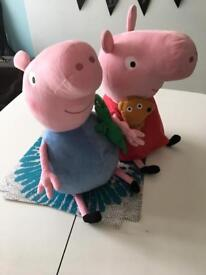 Large peppa and George pig ty soft toys