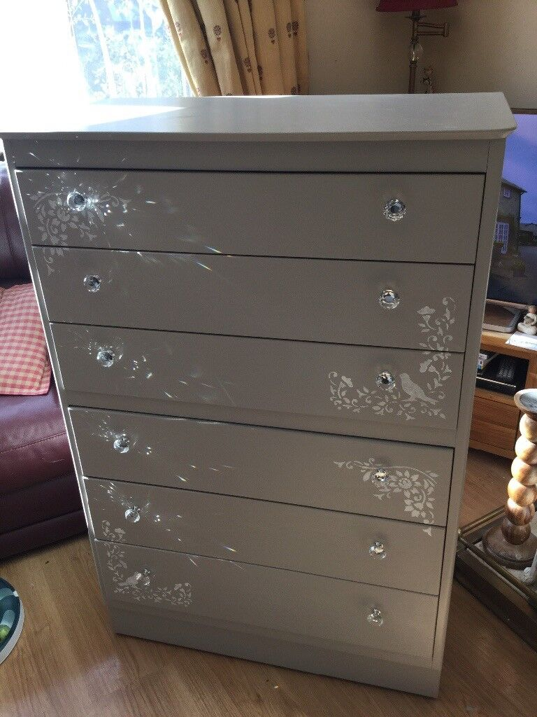 Upcycled wood chest of 6 drawers in Laura Ashley pale French grey