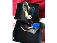 Black/royal blue clarks shoes, boxed