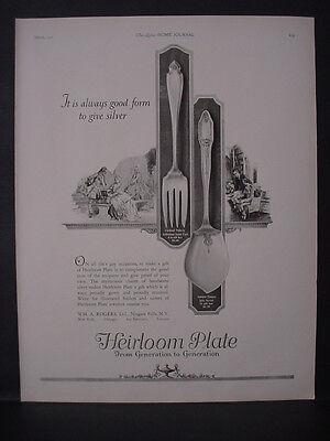 1925 Heirloom Plate Silverware Cardinal + Adelphi Pattern Vintage Print Ad 11880