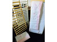 Cot, baby weavers mattress and bedding