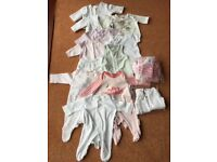 Bundle of girls tiny baby clothes