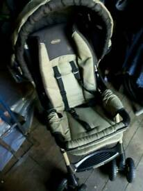 Pushchair and car seat. Only used for grandparents. Cosy toes and full rain cover.