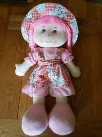 "Large pink rag doll approx 25"" tall"