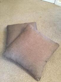 Pair of brown cushions