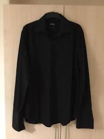 Men's Black Shirt Thomas Nash Formal Smart 17 Inch collar Long sleeve