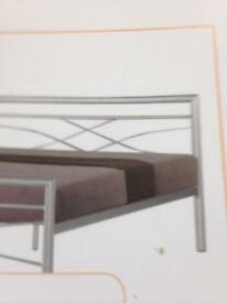 Silver frame double bed £130