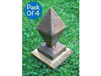 Pack Of 4 Fence Post Caps,diamond Shaped Solid Wood,ornate, Pergola, Arboreal, Post Wooden