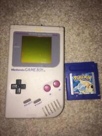 Original Nintendo gameboy and Pokemon blue