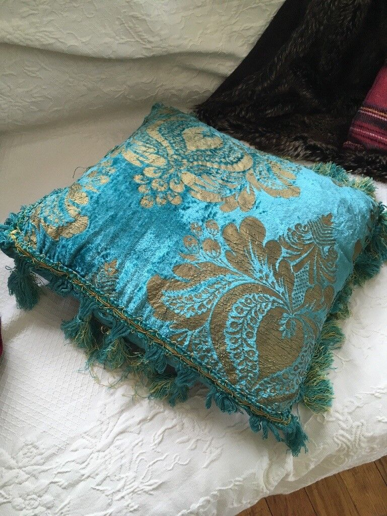 Gorgeous Vintage Velvet Blue and Gold cushions