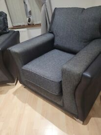 3 and 1 sofa charcoal colour with silver legs