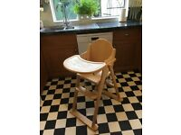 Mothercare Highchair - wooden with straps £10 ono