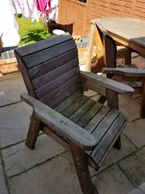 Set of heavy wood table and chairs