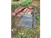 Slate roof tiles. Small rectangle roof tiles and corner caps