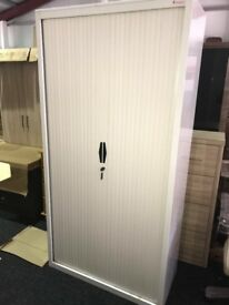 2nd hand office tambour units with sliding doors and shelves inside- 2m in height - lockable storage