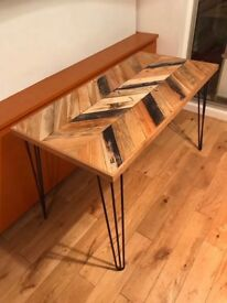 Herringbone desk,recycled timber furniture,bespoke timber retro desks,hand made desks
