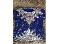 Sequin Embellished 100% Silk Top