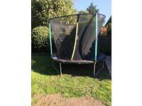 8 FOOT TRAMPOLINE WITH SAFETY ENCLOSURE. ALMOST BRAND NEW, HARDLY BEEN USED