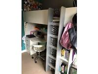 Single bed High Sleeper with Wardrobe and desk