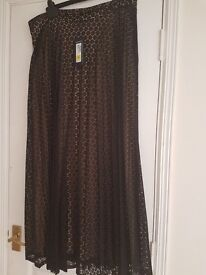 Black patterned Maxi skirt fully lined