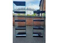 Black gloss shelving unit