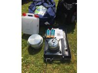 4 man tent and camping cooking equipment