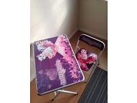Folding children chair and table