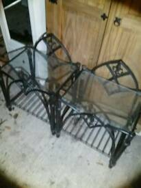 Bedside tables , matching pair , black metal glass top