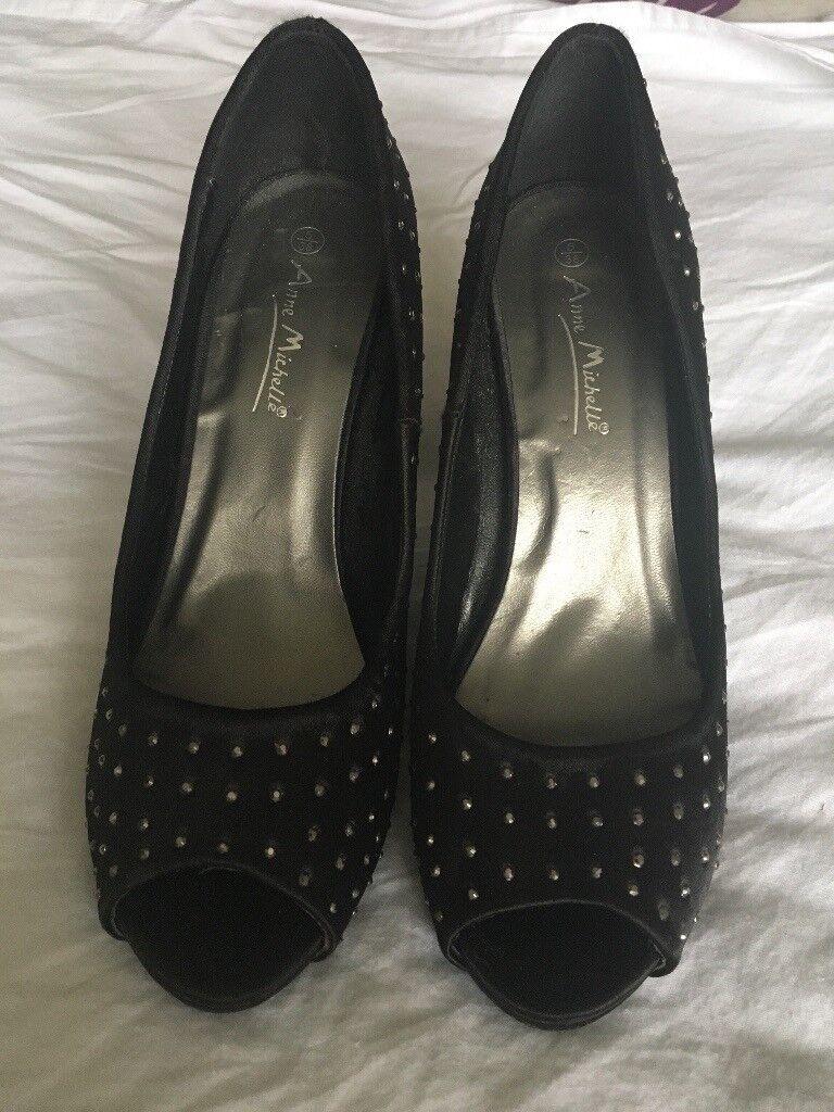Black/diamanté high heeled shoes (size 5)