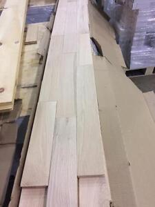 Plancher de bois franc érable et chêne rouge brut 2.99$/pc
