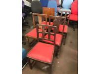 Wooden Chairs with Read Leatherette Seats