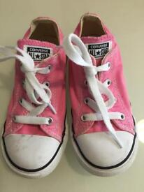Pink infant girls Converse trainers size 10