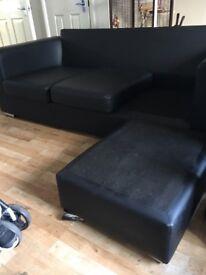 black leather L shape sofa