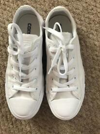 White leather Converse UK size 4