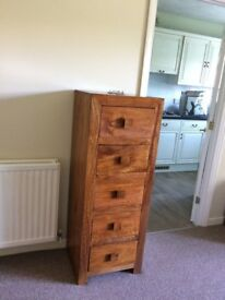 Solid Mango Wood tall slim chest of drawers