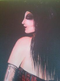 female in basque and stockings on canvas goth, emo, punk (Sherwood Nottingham NG5)