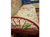 Girls pink metal bed