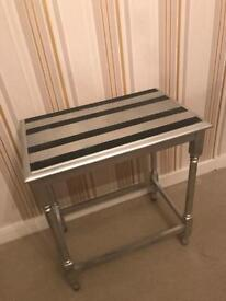 Solid wood table black and silver