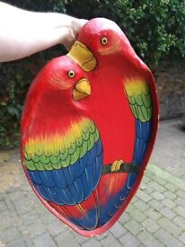Pair of parrots wall art or display tray central London bargain