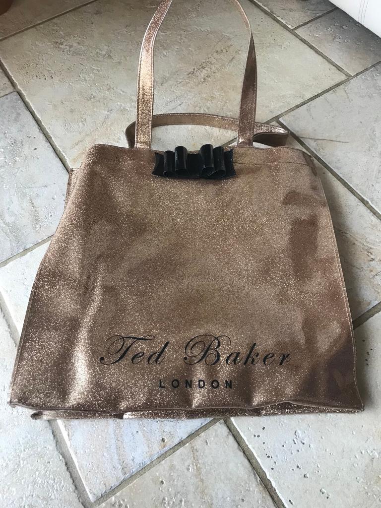 Ted Baker Gold/black glitter large tote/shopper
