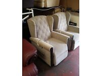 pride electric rise & recline armchair in oat coloured fabric with mahogany trim (2 available)